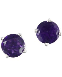 14k White Gold And Amethyst Earring