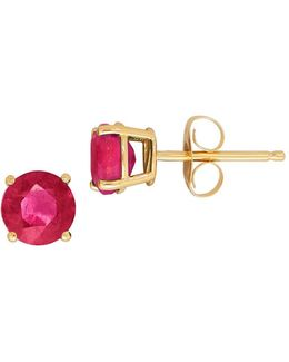 Ruby And 14k Gold Round Stud Earrings