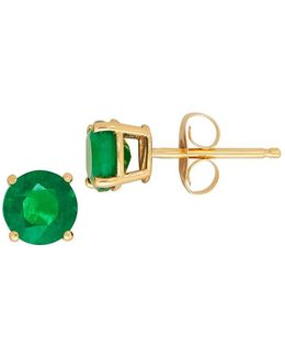 Emerald And 14k Gold Round Stud Earrings