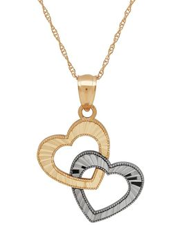 14k Yellow Gold Heart In Heart Pendant Necklace