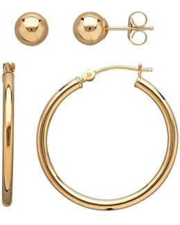 14k Gold Stud And Hoop Earrings Set- 0.98in