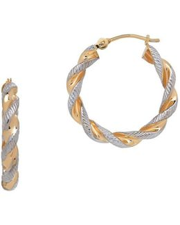 14k Yellow Gold Twisted Hoop Earrings- 0.89in