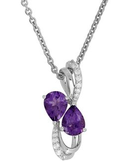 Amethyst, White Topaz And Sterling Silver Pendant Necklace