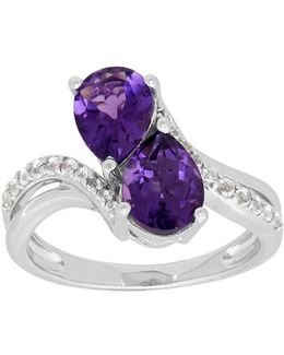 Amethyst, White Topaz And Sterling Silver Ring
