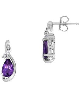 Amethyst, White Topaz And Sterling Silver Stud Earrings