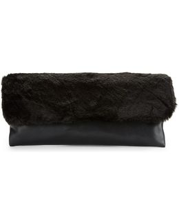 Faux Fur And Leatherette Clutch