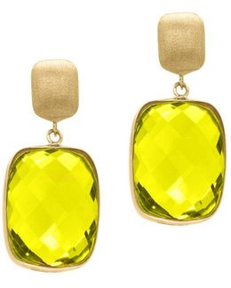 Quartz And 14k Yellow Gold Drop Earrings