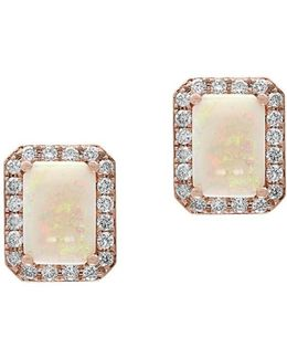 Aurora 0.26 Tcw Diamond, Opal And 14k Yellow Gold Stud Earrings