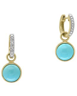 Diamond, Turquoise And 14k Yellow Gold Earrings