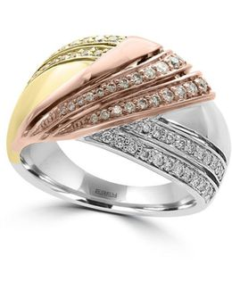 Trio Diamonds, 14k White Gold, 14 Yellow Gold And 14k Rose Gold Ring