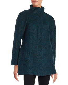 Wool-blend Zip Front Coat