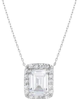 Cubic Zirconia And Sterling Silver Clear Rectangle Pendant Necklace