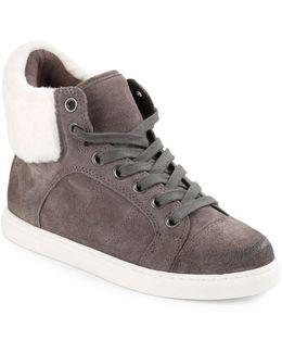 Sandra Faux Fur-trimmed Suede Sneakers