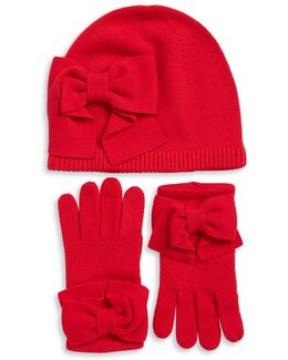 Bow Knit Beanie And Gloves Set