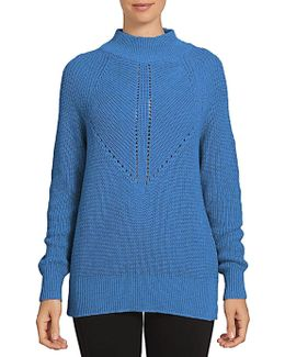 Long Sleeve Mock Neck Cotton Blend Sweater