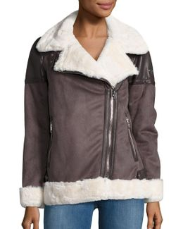 Faux Fur Lined Moto Zip Coat