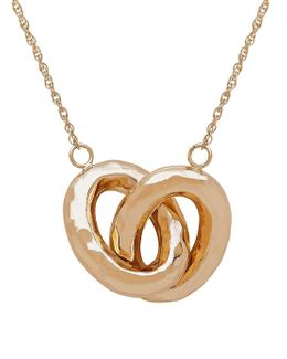 14k Gold Interlocked Double Oval Hollow Pendant Necklace