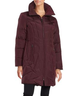 Convertible Collar Quilted Down Coat