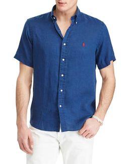 Short-sleeve Ocean-wash Linen Shirt