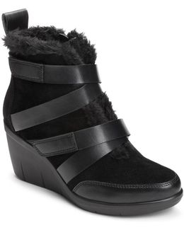 Interview Faux Fur Trimmed Suede Ankle Boots