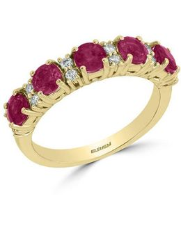 Diamonds, Ruby And 14k Yellow Gold Ring