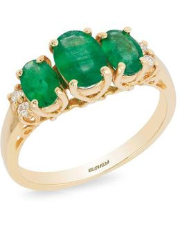 Diamonds, Oval Emeralds And 14k Yellow Gold Ring