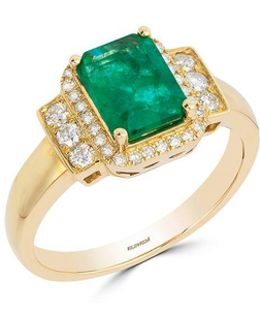Diamonds, Natural Emerald And 14k Yellow Gold Ring