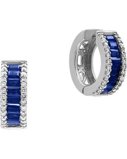 Diamonds, Sapphire And 14k White Gold Hoop Earrings