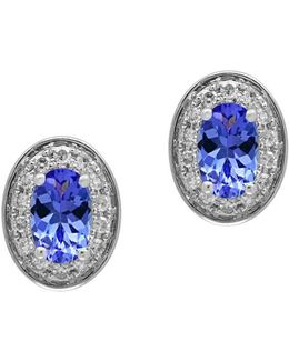 Tanzanite, 0.11 Tcw Diamonds And 14k White Goldplated Stud Earrings