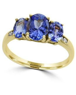 Diamonds, Oval Tanzanite And 14k Yellow Gold Ring
