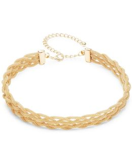 Goldtone Braided Choker Necklace