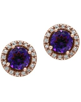 Diamonds, Amethyst And 14k Rose Gold Stud Earrings