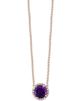 Amethyst And Diamond 14k Rose Gold Pendant Necklace