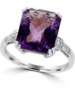 Diamonds, Amethyst And 14k White Gold Ring