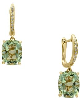 Diamonds, Green Amethyst And 14k Yellow Gold Drop Earrings