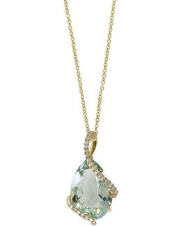 Viola Diamond And Green Amethyst Teardrop Pendant Necklace- 0.19 Tcw