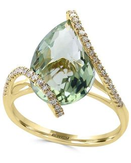 Diamond, Green Amethyst And 14k Yellow Gold Ring- 0.19 Tcw