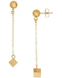 14k Yellow-gold Chain & Cube Drop Earrings