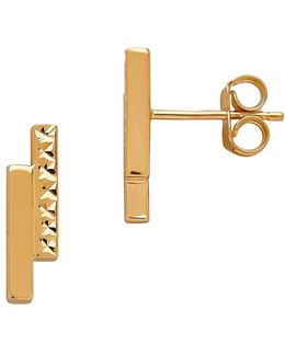 14k Gold Double-bar Stud Earrings
