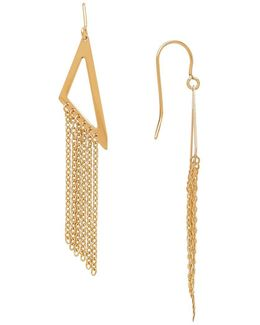 14k Gold Triangle Chainlink Linear Drop Earrings