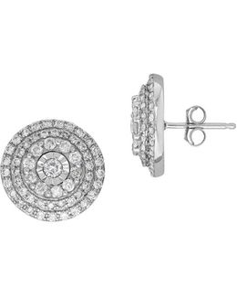 Andin 14k White Gold Diamond Pave Round Stud Earrings, 1.0 Tcw