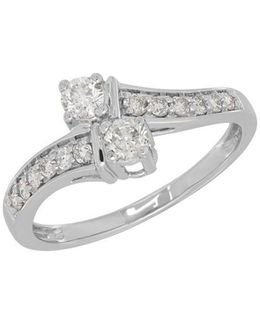 Andin 14k White Gold Two Diamond Ring