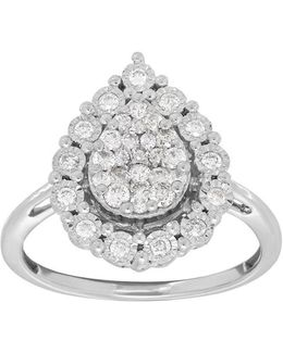 Andin 14k White Gold Pear Diamond Pave Ring, 0.50 Tcw