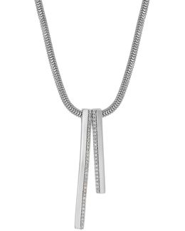Sterling Silver Diamond Pave Linear Drop Pendant Necklace, 0.20 Tcw