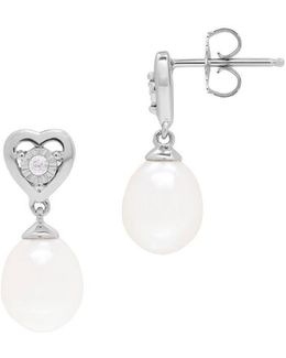 7-8mm White Oval Freshwater Pearl And Diamond Sterling Silver Earrings
