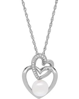 Linked Heart 7mm White Pearl And Diamond Pendant Necklace