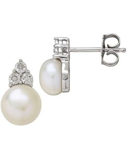 7mm White Button Freshwater Pearl And Diamond Sterling Silver Earrings