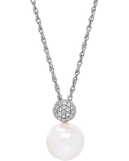 Pearl, Diamond & Silver Pendant Necklace