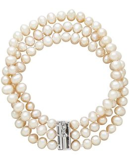 Three-row Diamond And Freshwater Pearl Bracelet
