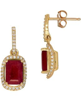 Ruby, Diamond & 14k Gold Earrings